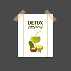 Vector detox smoothies cartoon ingredients