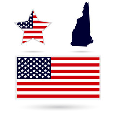 Map of the U.S. state of New Hampshire on a white background. Am