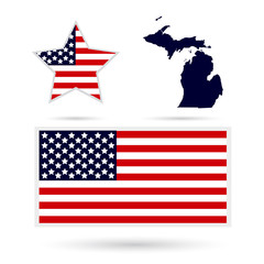 Map of the U.S. state of Michigan on a white background. America