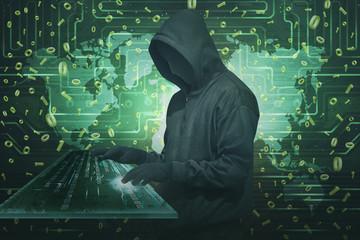 Hacker man wearing anonymous mask stealing data using virtual keyboard