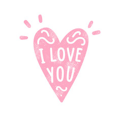 Heart silhouette and hand written text. I love you. Old texture. Vector hand drawn illustration
