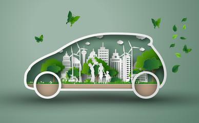 eco car concept Wall mural