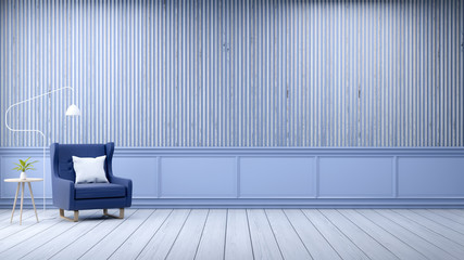Modern loft interior  ,emptry room,  white wood flooring and blue frame with oldwood wall  background , 3d render
