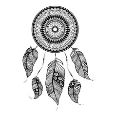 Vector illustration Dreamcatcher with ethnic feathers. Painted by hand in the doodle.Dreamcatcher isolated on white background.Black and white zentangle art. Boho style. Sophisticated graphic drawing.