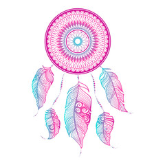 Vector illustration Dreamcatcher with ethnic feathers. Painted by hand in the doodle.Dreamcatcher isolated on white background.Gradient colors zentangle art. Boho style. Sophisticated graphic drawing.