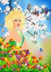 Pani wiosna w kwiatach