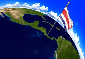Costa Rica national flag marking the country location on world map. 3D rendering, parts of this image furnished by NASA