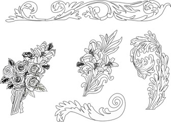 set of ornametal floral elements sketches on white