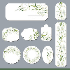 Floral spring templates with cute bunches of white snowdrops. For romantic and easter design, announcements, greeting cards, posters, advertisement.