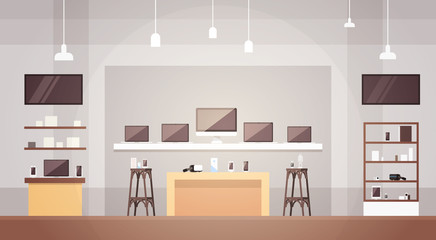 Modern Electronics Store Shop Interior Banner with Copy Space Vector Illustration
