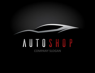 Auto car dealer logo design with concept sports vehicle icon silhouette on black background. Vector illustration.