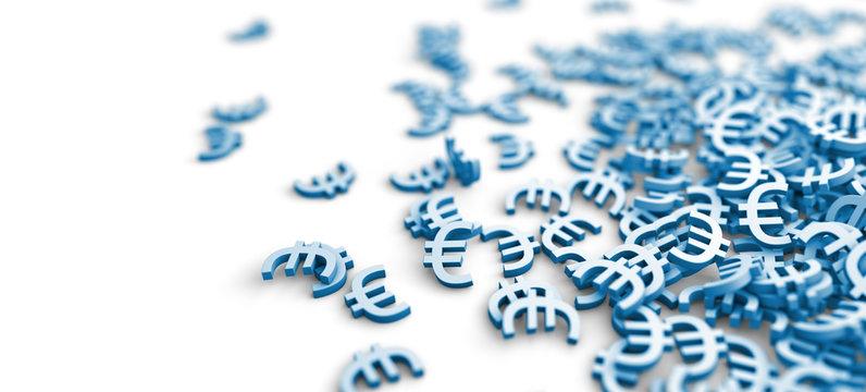 Euro Zeichen auf einem Haufen - Konzept Aktien, Geld oder Wirtschaft