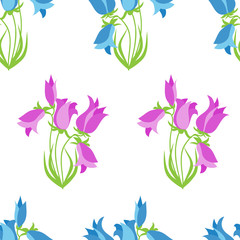Hand-drawn seamless flower pattern with campanula. Floral vintage background for textile, cover, wallpaper, gift packaging, printing, scrapbooking.