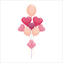 Color glossy hearts balloons vector illustration.