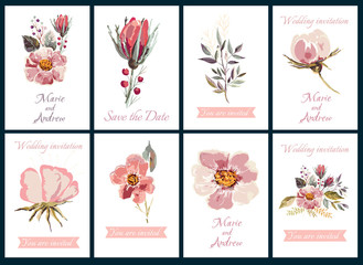 Decorative invitation cards with illustration of flowers and lettering