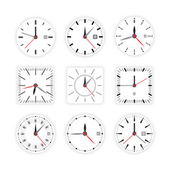 Set vector image of minimalistic clock dial white with black ticks time, different shapes of round and square, isolated on background. The timer is divided into 60 parts