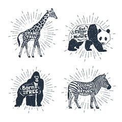 Hand drawn textured vintage badges set with giraffe, panda, gorilla, and zebra vector illustrations, and inspirational lettering.