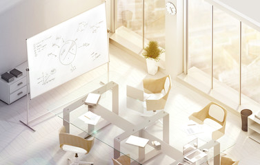 Bright modern conference office room design mockup, 3d rendering. Isometric view of the sunny cabinet for business meetings. Creative workspace mock up, glass desk, wooden chairs, windows and board