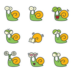 Set of funny snails isolated on white background. Doodle vector illustration.