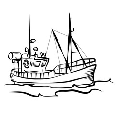 Fishing boat graphic