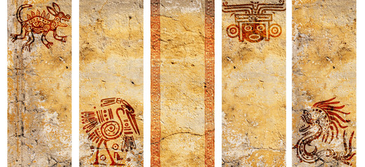 Set of banners with American Indian traditional patterns