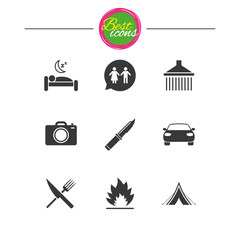 Hiking trip icons. Camping, shower and toilet.