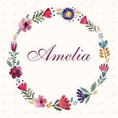 Template for invitation card with floral wreath and lettering