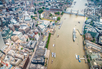 London buildings along river Thames - UK Wall mural