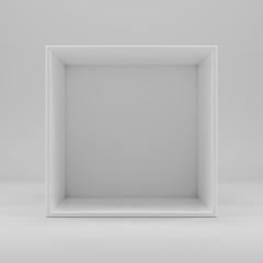 Empty cube shelf with shadow