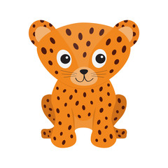Jaguar Leopard sitting. Wild cat smiling face. Orange panther with spot. Cute cartoon character. Baby animal collection. Childish drawing. Isolated. White background. Flat design style.