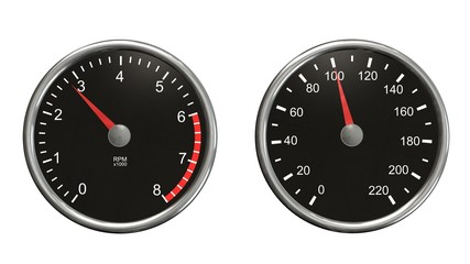 Tachometer and speedometer. Round gauges in chrome frames isolated on white background