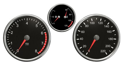 Tachometer , speedometer, fuel and temperatur.  Round gauges in chrome frames isolated on white background