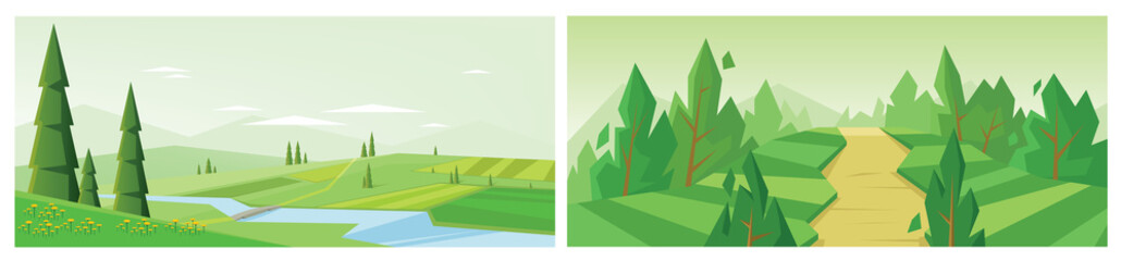 Digital vector abstract background collection set with pines, green fields and clouds, spring yellow flowers, bridge over river, mountains, flat triangle style