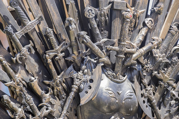 Iron throne made with swords, fantasy scene or stage. Recreation