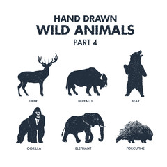 Hand drawn textured wild animals icons set with deer, buffalo, bear, gorilla, elephant, and porcupine vector illustrations.