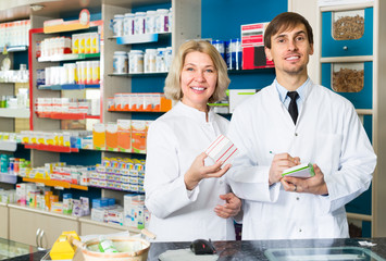 technicians working in chemist shop
