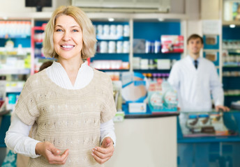 Portrait of mature woman  at the pharmacy