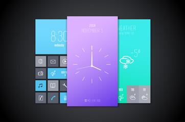 Mobile interface background designs set.
