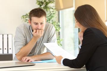 Nervous man in a job interview