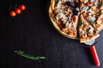 Italian seafood pizza on the Board