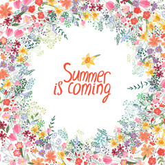 Summer frame with contour flowers.Phrase Summer is coming. Template for your design, greeting cards, festive announcements, posters.