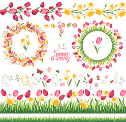 Summer elements. Phrase Summer is coming. Tulips and daffodils. Template for your design, festive greeting cards,  announcements, posters.
