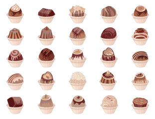 Big set with different chocolate candies isolated on white.  Milk,dark,white chocolate.  For your design, announcements, cards, posters, restaurant menu.