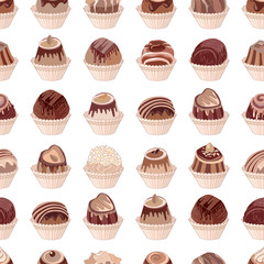 Seamless pattern with different kinds of chocolate candies - milk,dark,white chocolate. Objects on white. Endless texture for your design, announcements, cards, posters, restaurant menu.