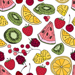 Stylized seamless pattern with  fruits.Endless texture for your design, restaurant and cafe menu.