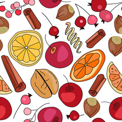 Stylized seamless pattern with  spice and fruits. Endless texture for your design, restaurant and cafe menu.