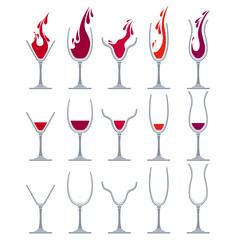 Set with different glasses for wine. For your desing,restaurant and cafe menu.