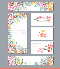 Summer templates with contour flowers.Phrase Summer is coming. Template for your design, greeting cards, festive announcements, posters.