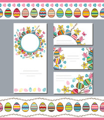 Spring templates. Phrase Happy Easter. Spring flowers, eggs and butterflies. Endless horizontal pattern brush.Template for your design, festive greeting cards,  announcements, posters.