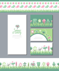 Summer greeting cards. Phrase Summer is coming. Blossoming trees and flowers. Endless horizontal pattern brush. Template for your design, festive greeting cards,  announcements, posters.